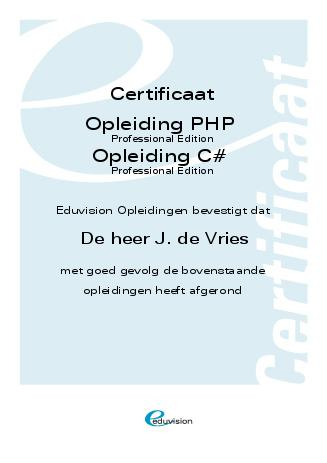 PHP certificaat Eduvision 2007